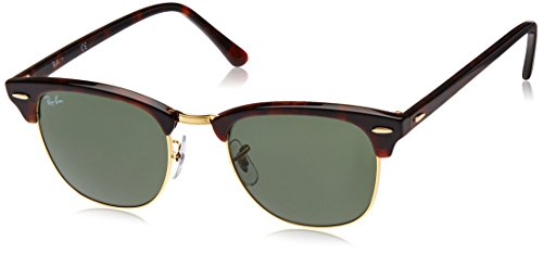 - Ray-Ban RB3016 Clubmaster Square Sunglasses, Mock Tortoise Gold/Green, 51 mm