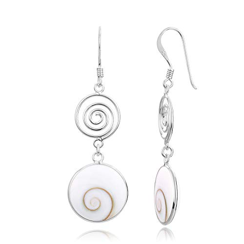 925 Sterling Silver Natural Shiva Eye Shell Double Round Dangle Drop Earrings (Genuine Silver Shell)