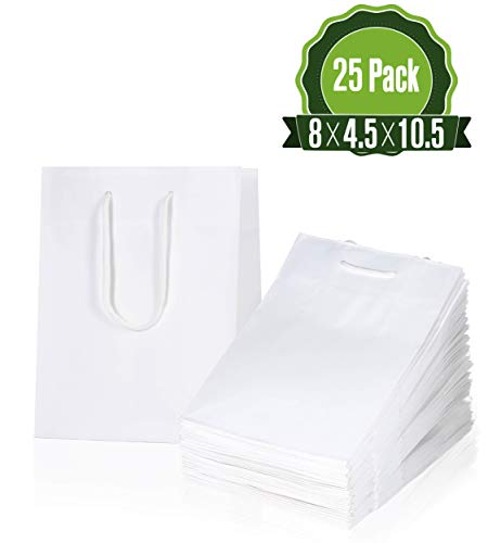White Kraft Paper Gift Bags Bulk with Handles 8 X 4.5 X 10.5 [25 Bags]. Ideal for Shopping, Packaging, Retail, Party, Craft, Gifts, Wedding, Recycled, Business, Goody and Merchandise Bag ()