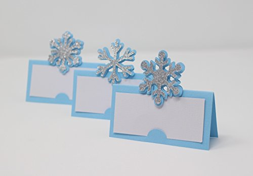 All About Details Snowflakes Place Cards12pcs, Winter Theme Party, Frozen Theme, Food Cards (Light Blue & Silver) (Table Frozen Cards)