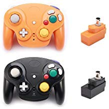 Poulep 2 Packs Classic 2.4G Wireless Controllers Gamepad with Receiver Adapter for Nintendo Wii U Gamecube NGC GC (Black and Orange) (Super Smash Bros Brawl Classic Mode Mario)
