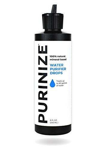 PURINIZE - The Best and Only Patented Natural Water Purifying Solution - Chemical Free Camping and Survival Water Purification (8oz) - Effective Against 200+ Contaminants, Heavy Metals, and (Iodine Water Treatment)