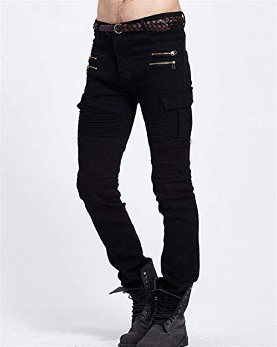 Uomo Motociclista Casual Denim Slim Vintage Pantaloni Da Nero Cargo In Classiche Fit Con Skinny Jeans Ragazzi Stretch Cerniera Multitasche tqwRx4Ey