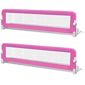 2 pcs Toddler Safety Bed Rail, Portable Child Single Guard Infant Baby Bed Rail, Pink 150×42 cm