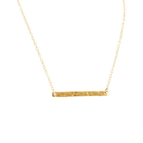 24k Gold Plated Sterling Silver Hammered Bar Necklace on Gold Filled Cable Chain, Choice of Length, #6809