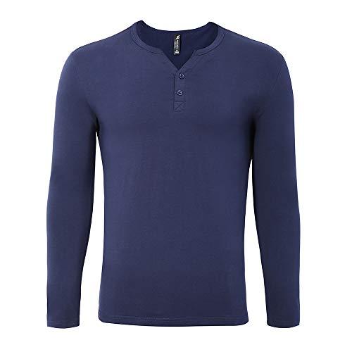 (Pioneer Camp Men's Slim fit Long-Sleeve Henley T-Shirt Comfort Cotton Shirt (Dark Blue, S))