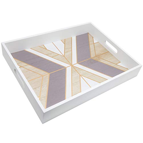 """Decorative Tray with Modern Geometric Accents and Wood Serving Handles for Home Décor, Dining Room, Coffee Table, Ottoman, Vanity and Jewelry - 15.8"""" x 11.8"""" with White, Brown and Gold Design"""