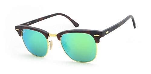 799a6139ed Ray-Ban RB3016 Clubmaster Flash Series Unisex Sunglasses (Sand Havana Frame  Green Flash