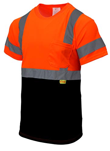 NY BFS8511 High-Visibility Class 3 T Shirt with Moisture Wicking Mesh Birdseye, Black Bottom (Large, Orange)