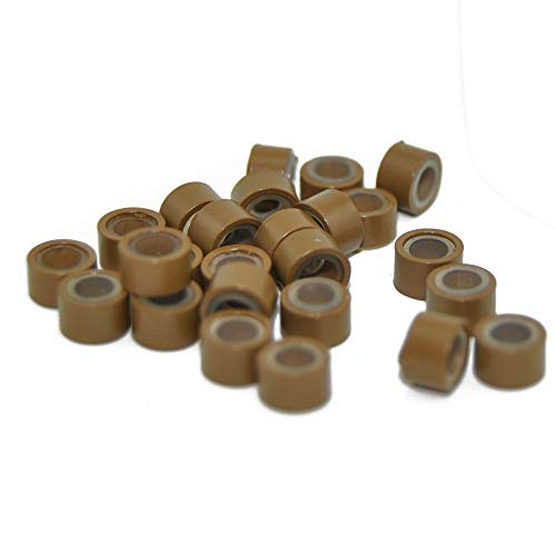 E-TING 1000 PCS 5mm Color Silicone Lined Micro Rings Links Beads Linkies for I Bonded Tipped Hair Extensions (Light Brown)