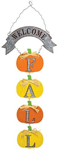 Hanna's Handiworks Welcome Ripple Pumpkin 12.5 x 12 Inch Metal Harvest Wall Hangers Assorted Set of 2