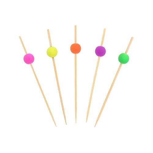 CiboWares 3.5'' Fluorescent Bamboo Picks with Ball End, Case of 10,000 by CiboWares