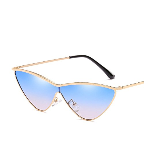 RFVBNM Gafas degradado sol Gris Women's gradiente dorado de de Marco Moda Personality Triangle Montura Gafas Sunglasses Dorada de Siamese de Lente azul Sol ppdqr1nU