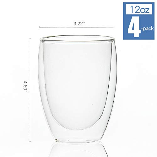 [4-Pack] Double-Wall Insulated Glass Coffee Mugs/Tea Cups, 12 Ounces, Double Walled Glasses Thermo Espresso