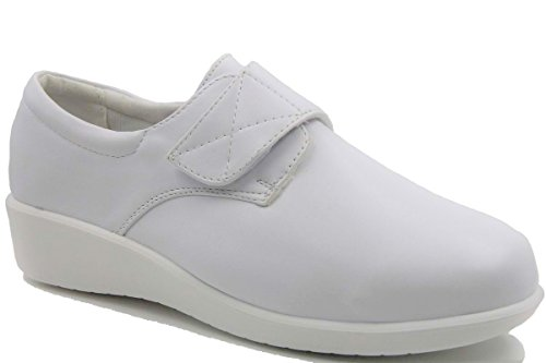 Women's Wide Width Velcro Strap Round Toe Padded Collar Comfort Nurse Shoes by Stylish & Comfort