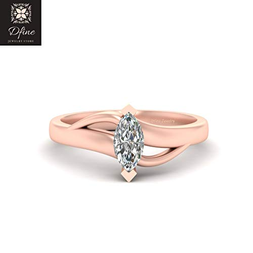 Classic Marquise Cut Solitaire Diamond Bridal Wedding Ring Jewelry Diamond Promise Ring