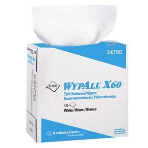Wypall X60 Reusable Wipers, Pop-Up, White 126 Sheets/Bx
