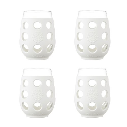 Lifefactory 17-Ounce BPA-Free Indoor/Outdoor Wine Glass with Protective Silicone Sleeve,4-Pack, Optic White ()
