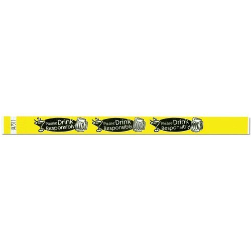 Tyvek Wristbands - Please Drink Responsibly - Yellow Color - 500 Pieces of Wristbands per Box by Precision (Precision Dynamics Band)