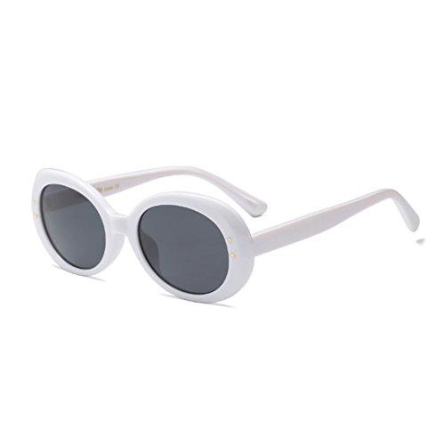 Oversized Round Retro Vintage Yefree Unisex Lens Eyewear Oval Frame Gris Blanco Sunglasses Mode nwqxgx8YO