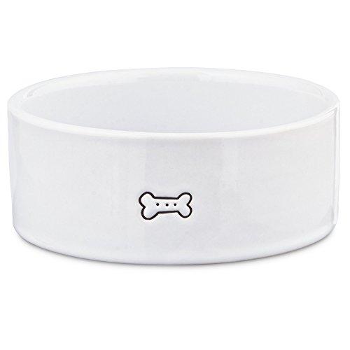 Small Ceramic Dog Bowl (Harmony Good Dog Ceramic Dog Bowl, 1 Cup., Small, White / Black)