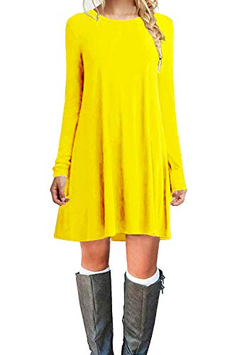 TOPONSKY Women's Casual Swing Plain Simple T-Shirt Loose Dress Yellow,L]()