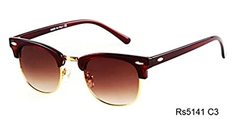 Caixia Unisex Rs5141 Plastic Half-frame Metal Rimmed Studded Oval 47mm Sunglasses (brown+brown) - Wire Frame Gradient Sunglasses