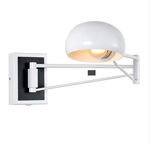AGECC 110-230V Wandleuchte Lampe für den Innenbereich Moderne einfache Wandleuchte Schlafzimmer-Nachttischlampe Wandleuchte LED-Charakter Teleskop-Langarm-Lese- und Schreiblampen, weiß
