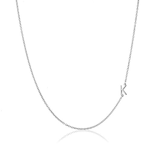 Deidreamers Sterling Silver Side Mini Initial Necklace K
