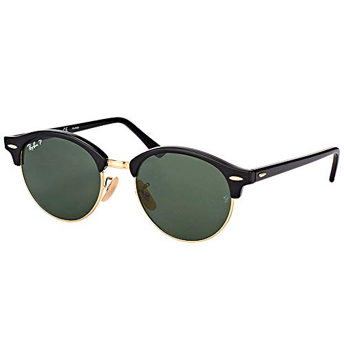 Ray-Ban RB4246 Clubround Sunglasses, Black/Polarized Green, 51 mm (Rb4202 Ban Ray Sunglasses)