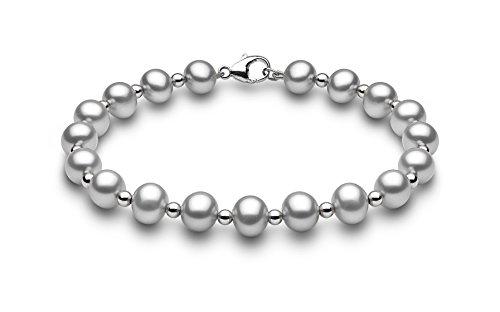 Kimura Pearls femme  9carats (375/1000)  Or blanc #Gold Rond Semi-circulaire Perle d'eau douce chinoise Gris Perle FINENECKLACEBRACELETANKLET