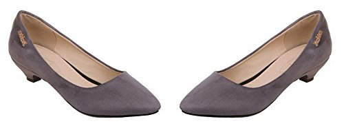 Odomolor Women's Pull-on Low-Heels Frosted Solid Pumps-Shoes Gray 405GK