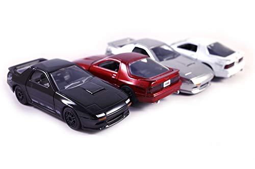 7 Red Mazda Rx Car - Set of 4 1985 Mazda RX-7 FC - Pull Back Toy Cars 1/32 Scale (Black/Red/Silver/White)