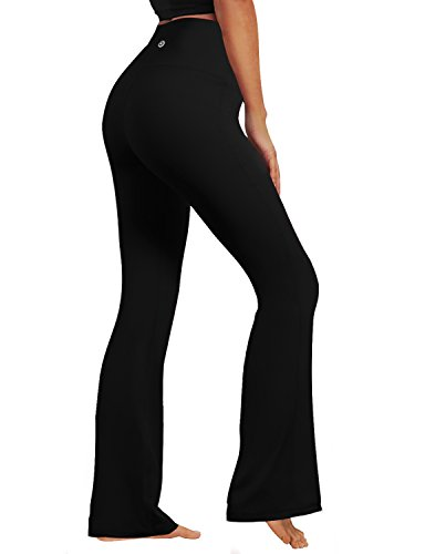 BUBBLELIME Bootcut Yoga Pants High Compression Running Pants High Waist Moisture Wicking UPF30+, Black, X-Large(29''inseam)