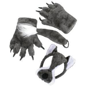 Wolf Animal Set with Mask, Tail & Paws (disfraz)