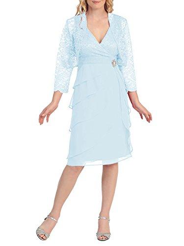 Luce Da Collo Di Con Abito Dressyu Pizzo Corto Blu Convenzionale Giacca V Del Delle Vestito Donne Sposa Madre xqnXaz