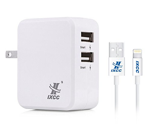 iXCC  17W 2-Port Dual USB Wall Charger with 3 Feet Apple MFi