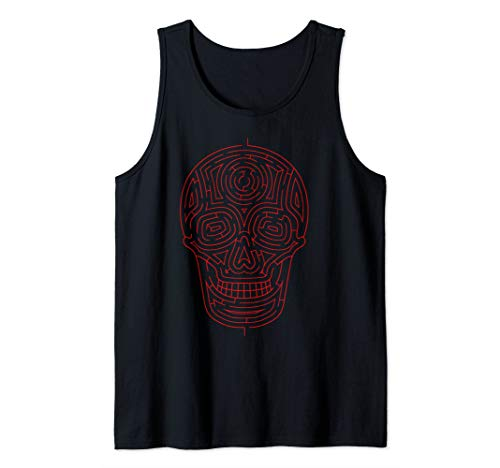 Skull Maze Art   Cute Skeleton Puzzle Lovers Funny Gift Tank Top