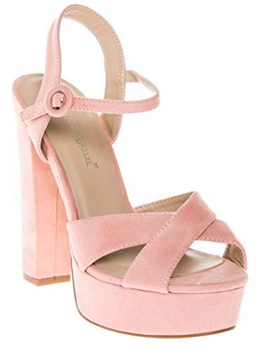 (CALICO KIKI CAELA-CK01 Women's Buckle Ankle Strap Open Toe Chunky High Heel Platform Dress Sandals (8 US Blush SU))