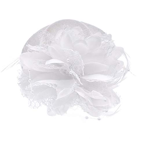 (Womens Lace Wide Brim Fedora Hats Elegant Bowler Cap with Feather Hair Clip for Evening Party White)