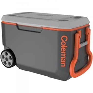 Coleman Leak-Resistant Low CO2 Insulation 62 Qt. Xtreme 5-day Ice Retention Wheeled Cooler, Holds 95 Cans, Gray/Orange