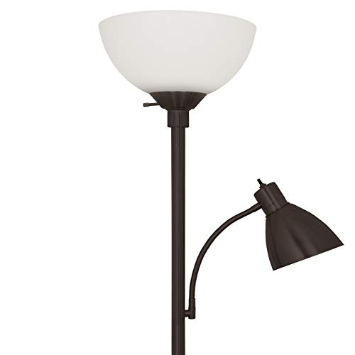Paper Table Lamp Bronze (Light Accents Stella Floor Lamp for Living Rooms - Metal Standing Pole Lamp with Reading Light- Office and Bedroom, Bright Reading Light with White Shade - Bronze)