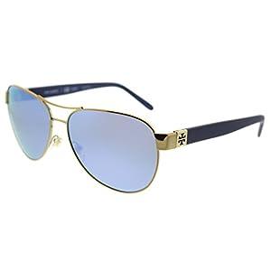 Tory Burch Women's 0TY6051 Gold/Blue Flash Polarized Mirror Sunglasses