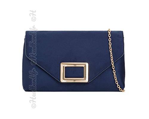 bleu métal rectangle Hedea suédine Pochette fermoir BpPwxRfq