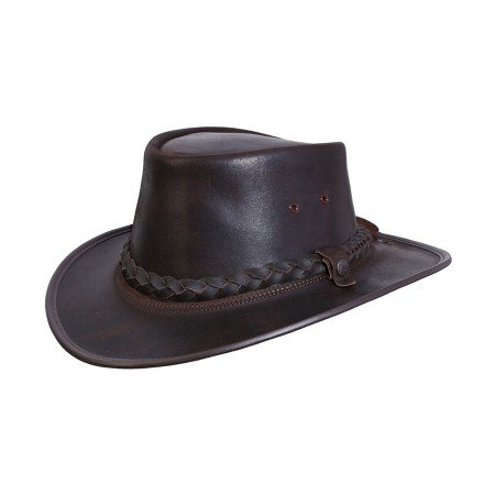 (BC Hats Bac Pac Traveller Oily Australian Leather Hat Brown Large)