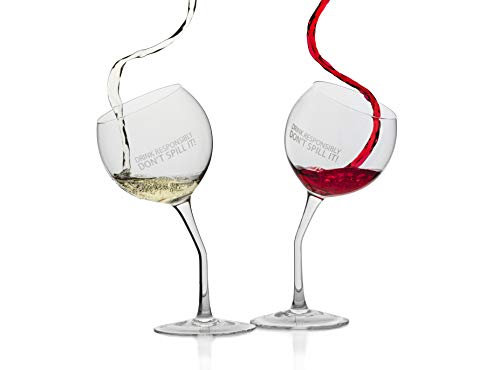 """Tipsy Wine Glasses Set of 2 with Laser Etched Slogan """"Drink Responsibly Don't Spill It!"""" Dishwasher Safe and Certified Lead-Free Novelty Gift"""