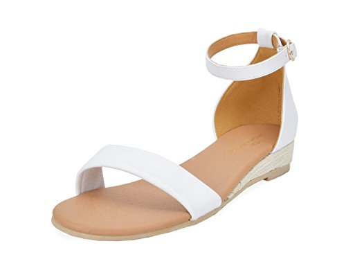 DREAM PAIRS Women's Formosa_10 White Low Platform Wedges Ankle Strap Sandals Size 7.5 B(M) US by DREAM PAIRS