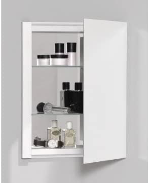 Robern PLM2030WB PL Series Flat Beveled Mirrored Door, 19-1 4-Inch W by 30-Inch H by 3-3 4-Inch D, White Interior