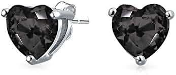Bling Jewelry 925 Sterling Silver Color Cubic Zirconia Heart Stud Earrings