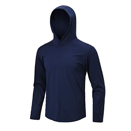 Men's Hoodie Pullover Thermal Running T-Shirts Long Sleeve Fasion Pro Quickdry Long Sleeve Athletic Compression Sport Shirt Christmas Romper (Navy, S)
